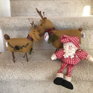 Other - Country Xmas decor-Reindeer pair, stuffed Santa